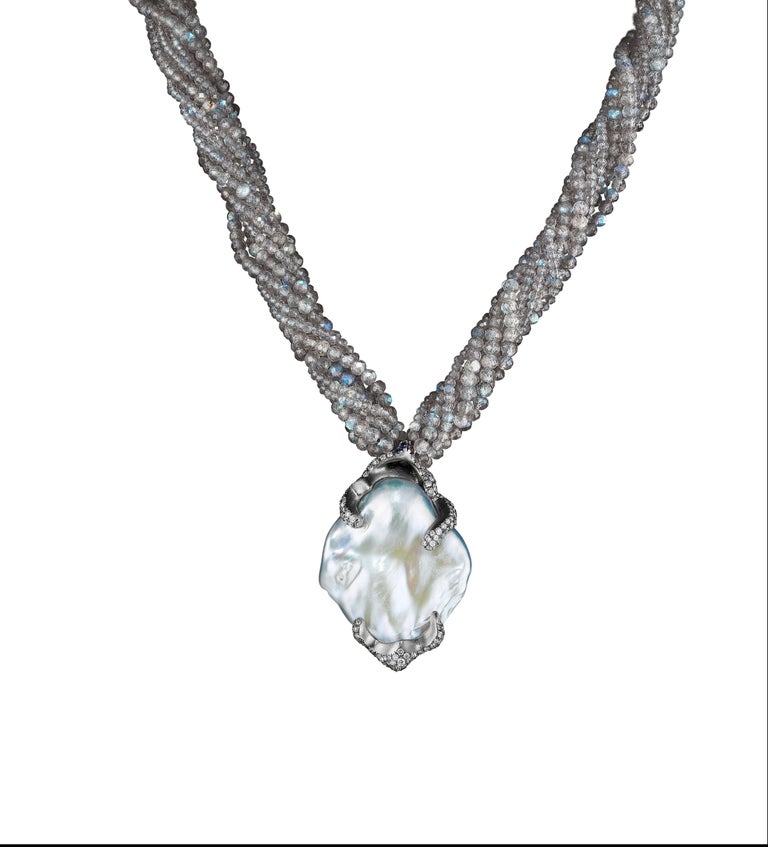 Naomi Sarna Diamond Pearl Labradorite Gold Necklace 4