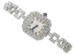 1940s Ladies Platinum Diamond Cocktail Wristwatch