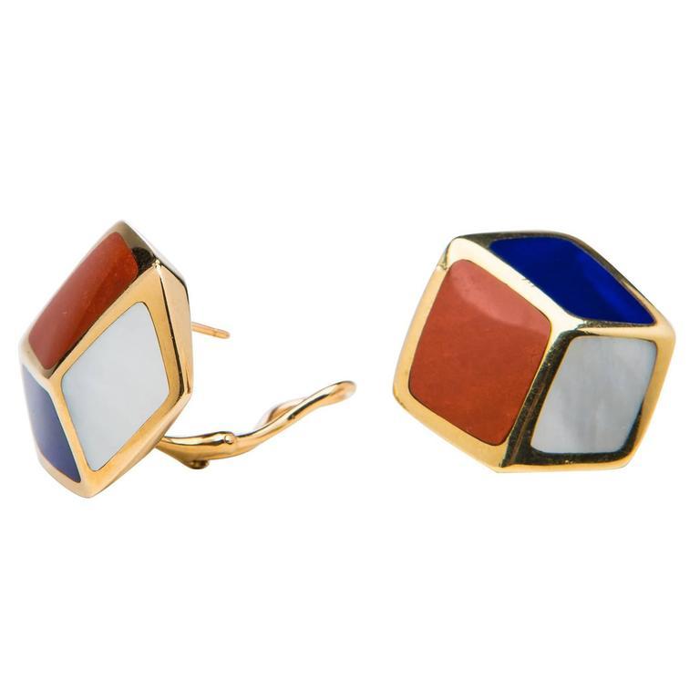 Tiffany & Co. Lapis Carnelian Mother-of-Pearl Gold Geometric Earrings 1