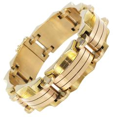 1940s French Two Color Gold Tank Bracelet
