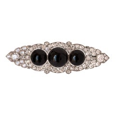 French Art Deco Onyx Diamond Platinum Brooch