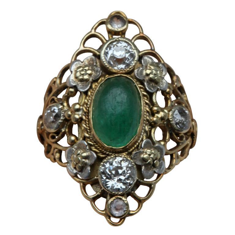 Arthur & Georgie Gaskin Superb Emerald Diamond Arts and Crafts Ring For Sale