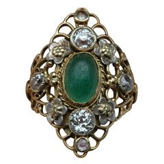 Arthur & Georgie Gaskin Superb Emerald Diamond Arts and Crafts Ring