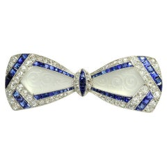 Jackie Kennedy's Art Deco Diamond Sapphire Frosted Crystal Bow Brooch