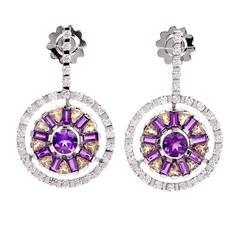GARAVELLI Diamond Amethyst Gold Circular Drop Earrings