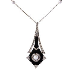 French Art Deco Fine Pearl Onyx Diamond Platinum Pendant