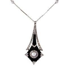 French Art Deco Fine Pearl Onyx Diamond Platinum Pendant