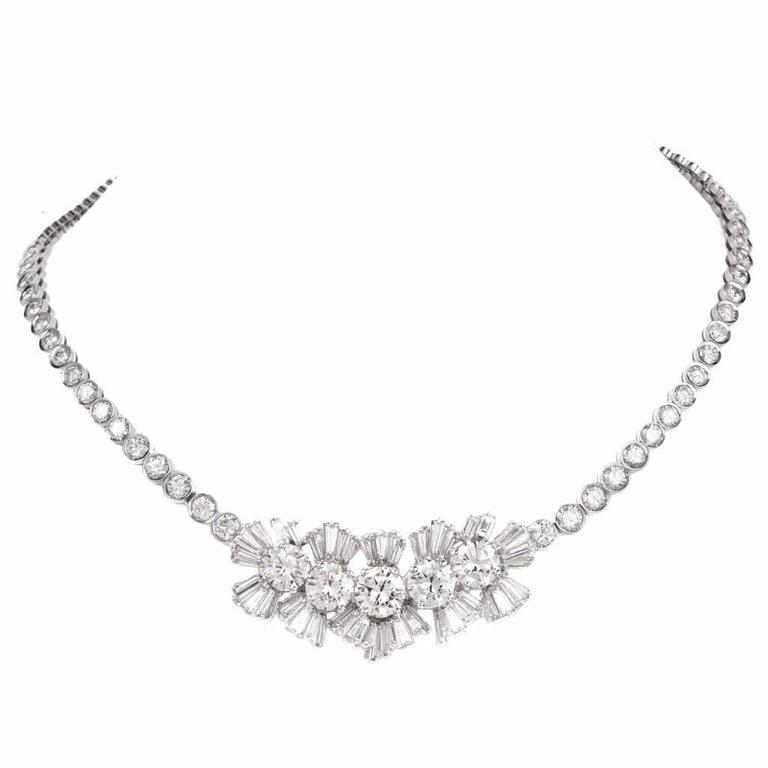 1940s Important GIA Diamond Gold Necklace
