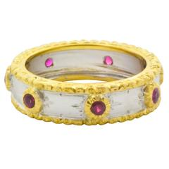 Ruby Two Color Gold Bezel Set Ring with Hand Engraved Finish