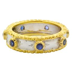 Sapphire Two Color Gold Hand Engraved Ring