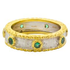 Emerald Two Color Gold Ring with Hand Engraved Finish