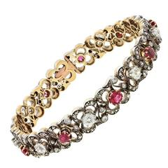 Antique Silver over Gold Diamond & Ruby Bracelet