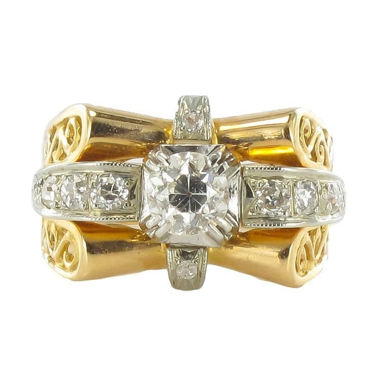 1960s French Diamond Gold Ring  For Sale
