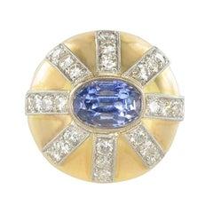 1950s Sapphire Diamond Gold Platinum Dome Ring