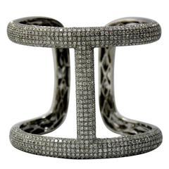 Stylish and Large Diamond Gold Encrusted Bangle Bracelet