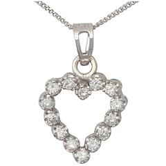 0.55Ct Diamond and 18k White Gold Heart Pendant - Vintage Circa 1980
