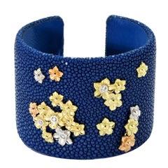 Stambolian Blue Tri-Color Yellow White Pink Gold Stingray Cuff Bracelet