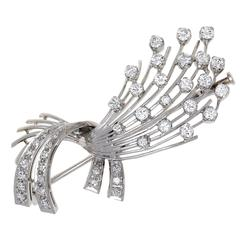Diamond 18k Gold Spray Brooch