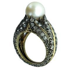 1920s Buccellati Pearl Diamond Silver Gold Ring