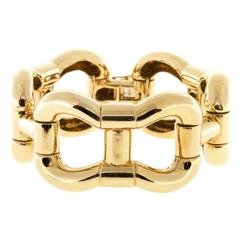 Heavy Solid Curved Hinged Link Gold Bracelet