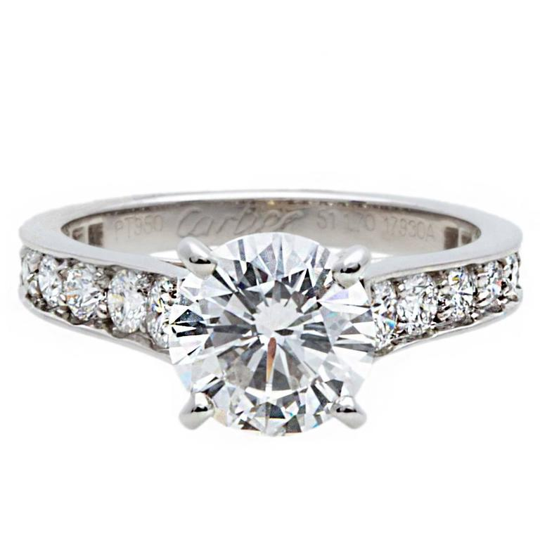 Cartier 1.70 carat GIA Certified Diamond Platinum Ring