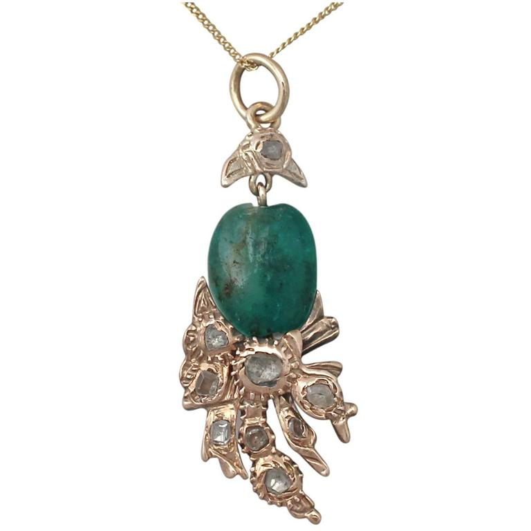 Emerald and 0.52Ct Diamond, 9k Yellow Gold Pendant - Antique Victorian For Sale