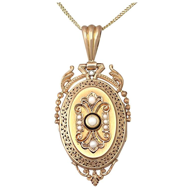 Pearl and Enamel, 18k Yellow Gold Locket/Pendant - Antique French Circa 1880 1