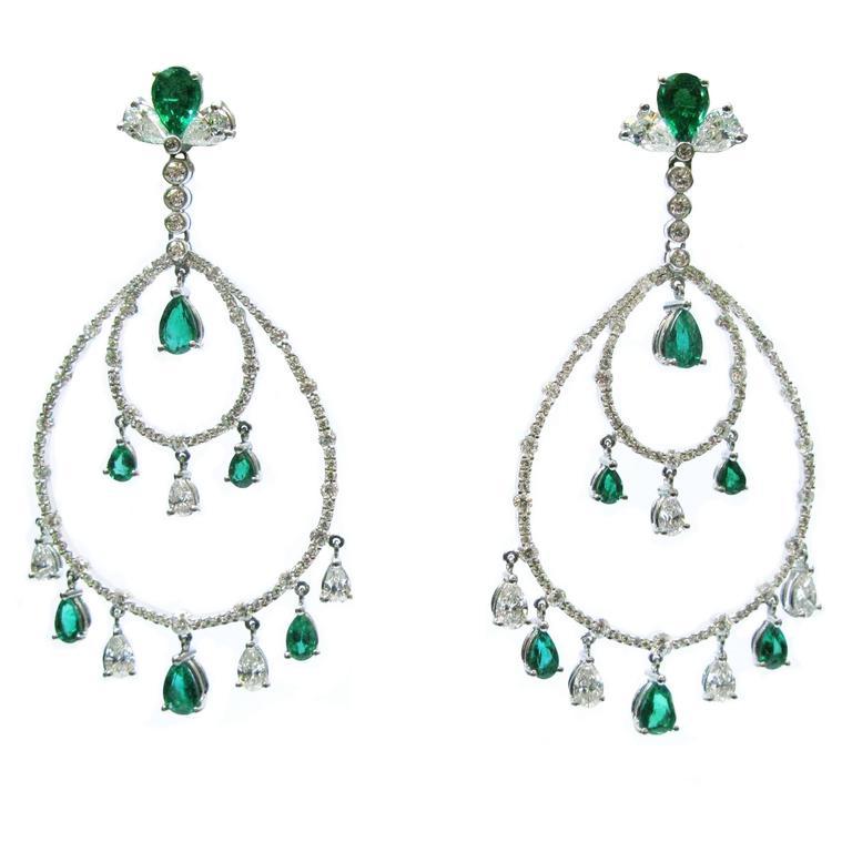 Emerald Diamond Chandelier Earrings
