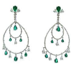 Emerald Diamond Chandelier Earrings