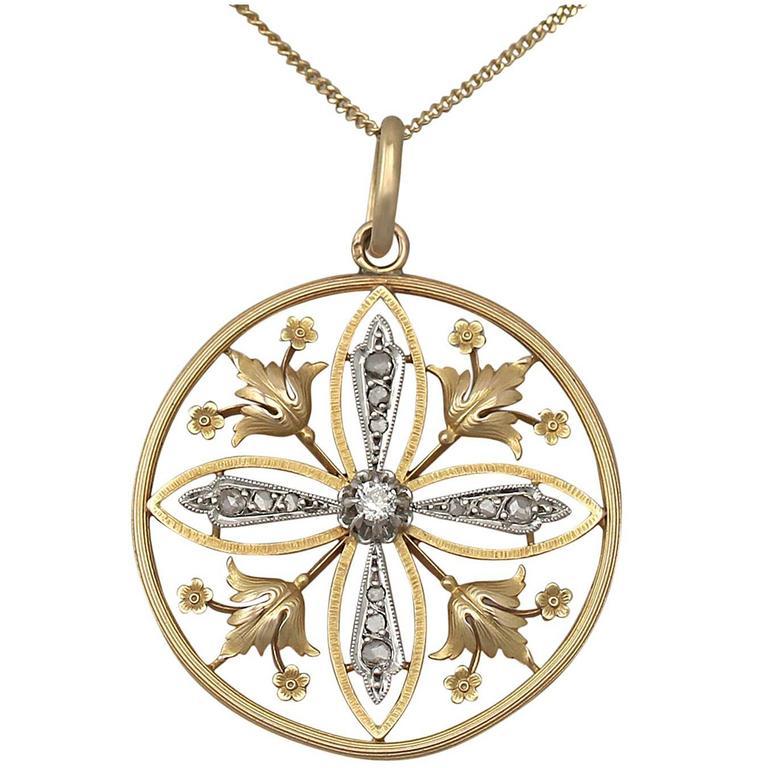 0.63 Carat Diamond and 18 Karat Gold, 18 Karat White Gold Set Pendant, Antique