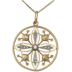 0.63Ct Diamond & 18k Yellow Gold, 18k White Gold Set Pendant - Antique