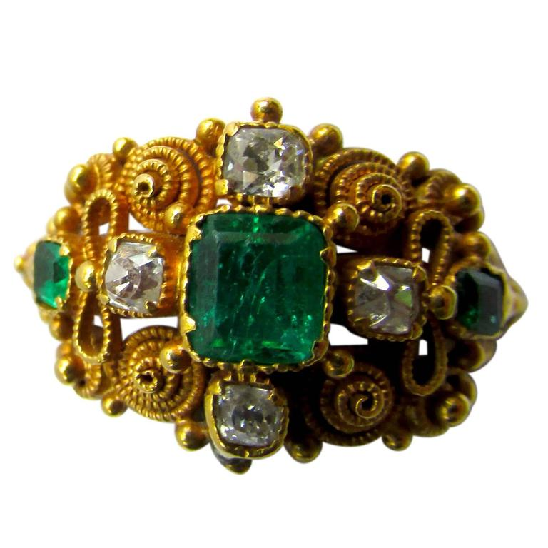 Antique Cannetille Emerald Diamond Ring