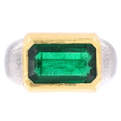 David Webb Emerald Gold Platinum Ring