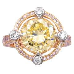 Graff  GIA Cert 5.01 Carat Vivid Yellow Diamond Solitaire