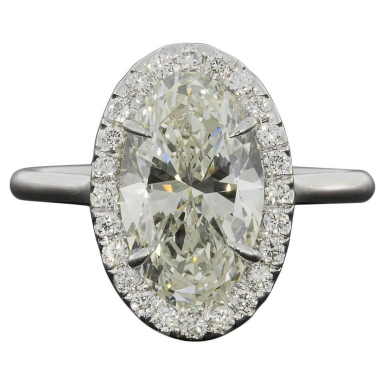 3 33 Carat GIA Cert Oval Halo Diamond Gold Ring at 1stdibs