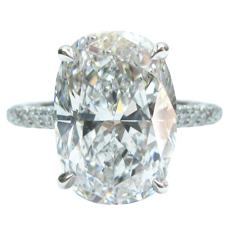 5.00 Carat GIA Cert Oval Diamond Platinum Engagement Ring