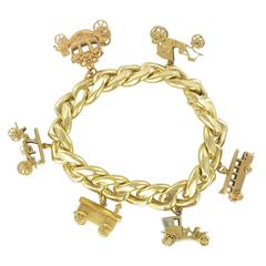 1960s Vehicle Charm Gold Bracelet