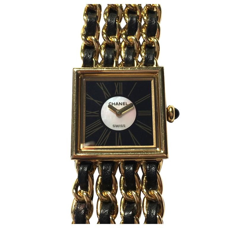Chanel Ladies Yellow Gold Leather Mademoiselle Quartz Wristwatch For Sale