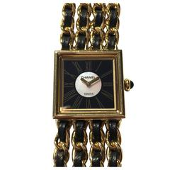 Chanel Ladies Yellow Gold Leather Mademoiselle Quartz Wristwatch