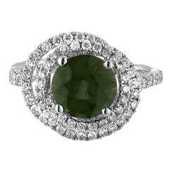 Certified No Heat 2.80 Carat Round Green Sapphire Diamond Gold Ring