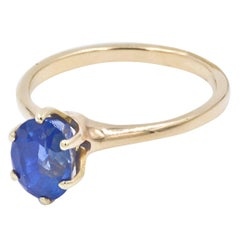 3.01 Carat Oval Blue Sapphire Gold Ring