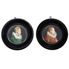Pair of Polychrome Habillé Wax Profile Relief of Medici Ladies