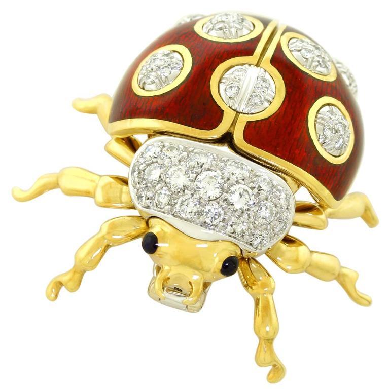Tiffany & Co. Enameled and Diamond Set Gold Lady Bug Brooch