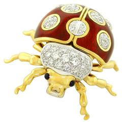 Tiffany & Co. Enameled and Diamond Set Gold Lady Bug Brooch