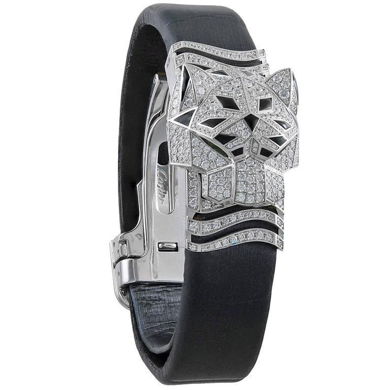 Cartier White Gold Diamond Onyx Panthere Secrete de Cartier Quartz Wristwatch