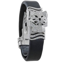 Cartier White Gold Diamond Onyx Panthere Secrete de Cartier Quartz Wristwatch