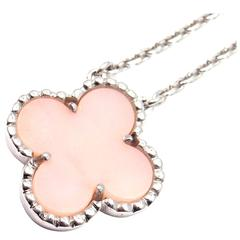 Van Cleef & Arpels Vintage Pink Opal White Gold Pendant Necklace
