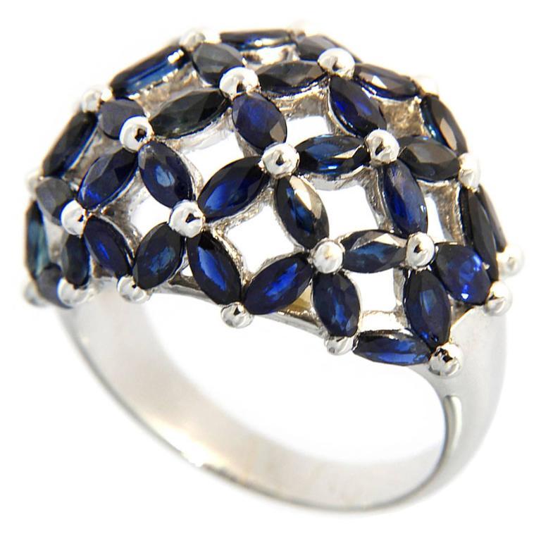 Jona Blue Sapphire Dome 18 Karat White Gold Ring