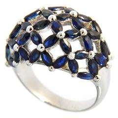 Jona Blue Sapphire Dome Gold Ring