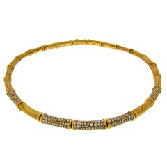 Cartier Diamond Gold Bamboo Necklace